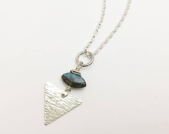 Textured Triangle & Labradorite Pendant Necklace- Geometric, Unique, Gemstone, Minimal - N418SS - handcrafted by cristysjewelry on etsy