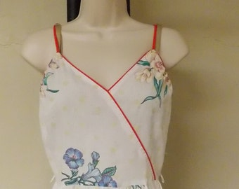 Vintage sundress, shade of white flared skirt, red spaghetti straps, floral small embroidery look w/larger floral