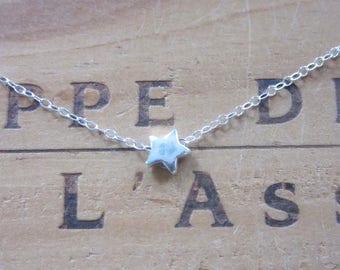 Tiny Sterling Silver Star Necklace Choker