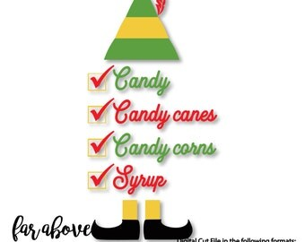 Four Main Food Groups - Candy, Candy Canes, Candy Corns, & Syrup - SVG, DXF digital cut file for Silhouette or Cricut Elf