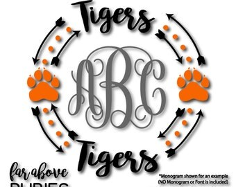 Tigers Paw Print Monogram Wreath with Arrows (monogram NOT included) - SVG, DXF, png, jpg digital cut file for Silhouette or Cricut