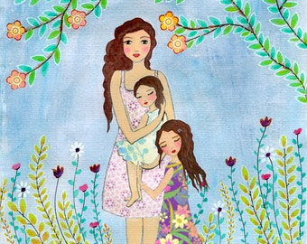 Mother Daughter Painting Art Print Block