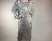 Vintage 1980s Silver Beaded Fringe and Silk 1920s Flapper Style Dress