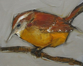 WREN BIRD  Abstract Art Giclee print from my original oil painting