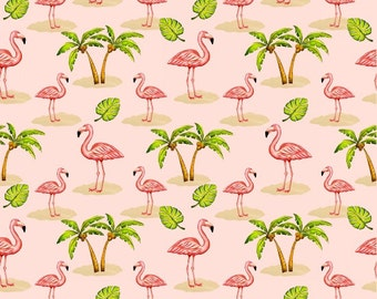 Beach Fabric  Cotton Quilt FabricsPink Lady 8488-22 Flamingos Quilting Sewing 1/2 yard cut