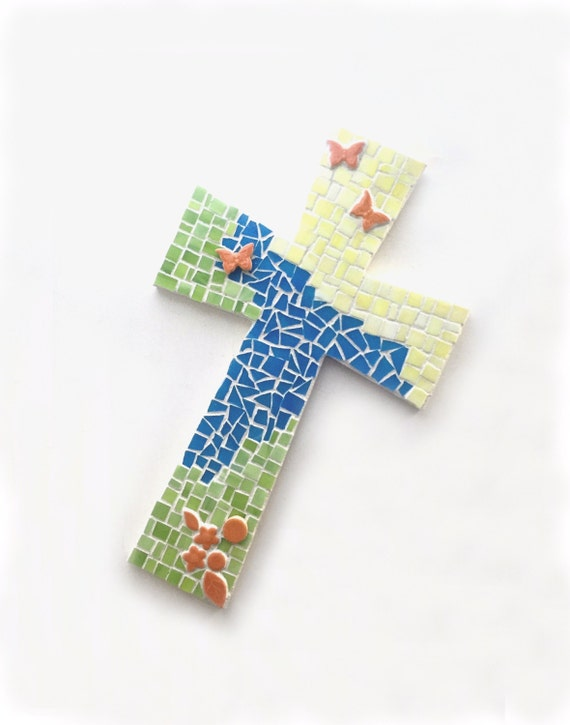 Mosaic Cross, Butterfly Mosaic Wall Cross, Yellow Orange Green Blue Butterfly Mosaic Cross, Mosaic Cross Wall Hanging, Handmade Mosaic Cross