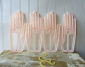 Vintage glove dryers glove holders forms hangers stretchers Glove pal drip drier hand pale pink plastic 2 pairs laundry wall decor G1