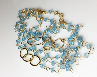 "Blue Topaz Bracelet, Layering Wrap Gold Fill, Topaz Layering Wrap Necklace 44"", Long Gemstone Necklace, Topaz Jewelry, Multi Strand"