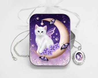Cat Gift Set // Cat Locket Necklace // Twilight Moon Pearls