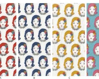 Cotton Linen Canvas Florence K50520-1 , bundle fabric - 4 fat quarters, by Obiko for Kokka Japan