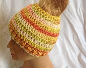 Citrus Messy Bun Beanie, Top Knot Beanie, Crochet Beanie, Unisex Beanie, Messy Bun Hat, Top Knot Hat, Winter Beanie, Messy Hair Beanie