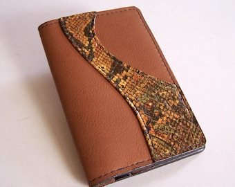 Tan Leather Passport Cover - United States and Canada - With Faux Python Leather Applique