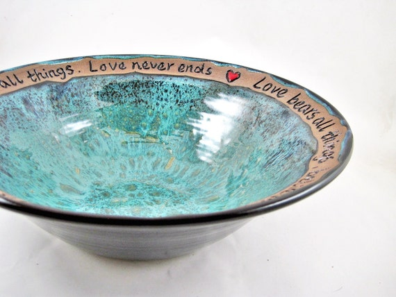 Personalized Pottery Wedding Gift - Custom engraving 9th Anniversary, Commitment Ceremony, serving bowl - Made to order