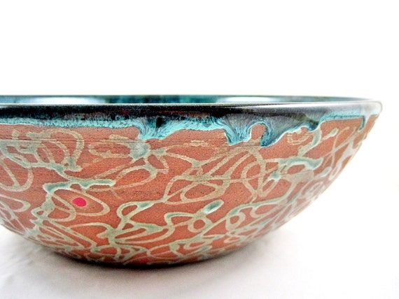 Large serving bowl, pottery bowl, Modern ceramics, blue wedding gift - IN stock (9SB B)