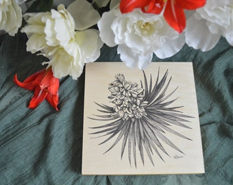 Joshua Tree Blossom - 8x8 inch Pen and Ink Print on Wood Panel