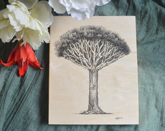 Dragon Tree Ink Drawing on Wood Block - Perfect for gallery wall collection of Tree Art