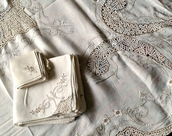Antique Idrian Lace Tablecloth Napkins Set, formal dining, embroidery, bobbin lace, 100x64, cocktail & dinner napkins