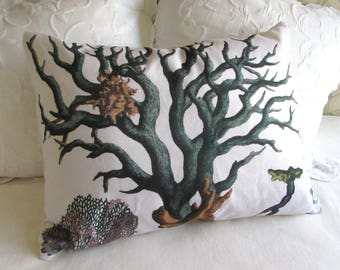 BLUE CORAL 20x26 sham size pillow cover ready to ship  ooak