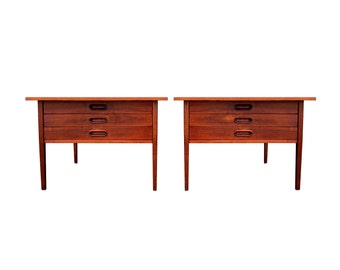 Pair of Danish Modern Oversized End Side Tables