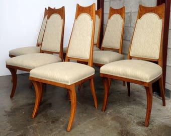 Vintage Burl Wood Dining Chairs Decorative Regency Set of 6