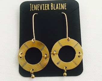 Hinged Stamped Discs Earrings