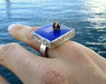 Ring Lapis Lazuli Raw Diamond set in 14kt Gold  Unique by Marc Gounard of Sausalito CA printed bezel sterling silver
