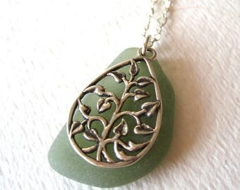 Tree of Life, Olive Green Sea Glass Necklace in Sterling Silver