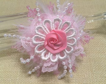 Shabby Chic Rosette, Flower Accessory, Beads, Decoration, Mixed Media, Lace Flower, Embellishment, Ornament, Package Topper, Favor Gift, DIY