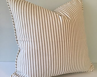 Brown Ticking Stripe Throw Pillow Cover 18x18