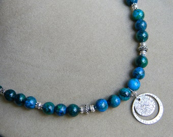 Planet Earth - Shades of Blue and Green Beaded Textured Silver Necklace