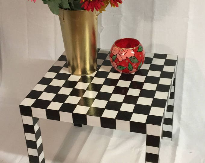 Whimsical painted table, parsons table, black and white checked table