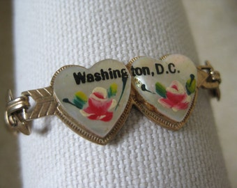 Heart Washington DC Bracelet Rose Red Mother of Pearl Gold Vintage MOP