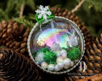 Winter Wonderland Green White Glass Round Ornament, Green Velvet Ribbon, Sparkle Snowflake Snowball Christmas Holiday Tree Decor