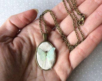 Little Luna - Handmade Pendant Oval Necklace in Cotton and Silk Organza Luna Moth Butterfly - One of a Kind