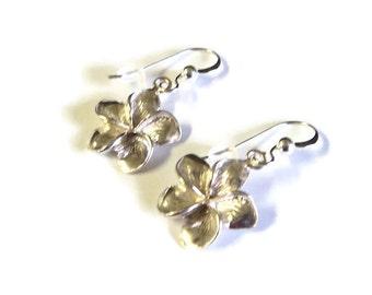 "Petite Sterling Silver Plumeria Pierced Dangle Earrings, 1"" Long, Gift for her, Dainty Flower Earrings, Valentine's Gift"