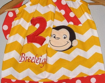 Dress  Curious George Dress  Monogrammed yellow Chevron  pillowcase dress 3 6,12 18 month 2t,3t,4t 5t,6,7,8,10