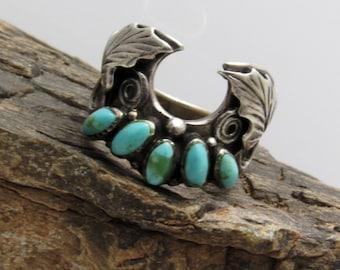 Sterling Turquoise Ring Unique Leaf Design R7558