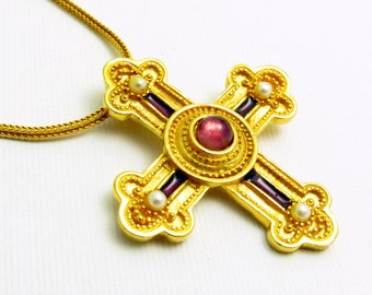 Etruscan Pearl Maltese Cross Pendant Necklace Purple Jewelry N7657