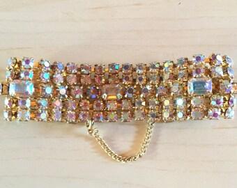 Aurora Borealis Iridecent Rhinestone bracelet set in Gold tone