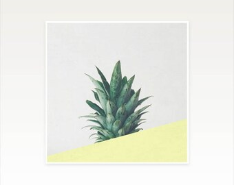 Pineapple Art, Tropical Fruit Print, Abstract Photography, Minimal Yellow and Green Wall Decor - Pineapple Dip III