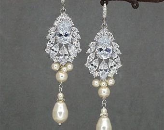 Bridal Chandelier Earrings, Wedding Earrings, Rhinestone Earrings,Art Deco Earrings Vintage Earrings Ivory Bridal Earrings