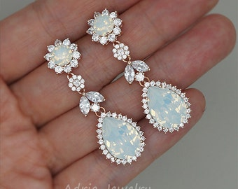 Chandelier Wedding Earrings, White Opal Earrings, Rose Gold Bridal Earrings Swarovski Rhinestone Jewelry Strass Hochzeits Ohrringe