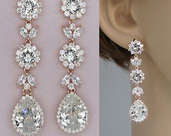 Rose Gold Earrings,Long Bridal Earrings, Chandelier Wedding Earrings for Brides, Swarovski Crystal Earrings  , Strass Hochzeits Ohrringe
