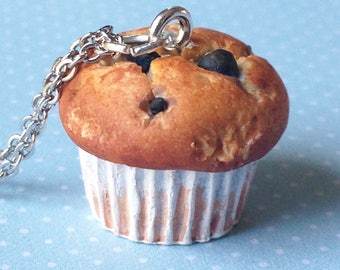 Blueberry Muffin Charm - Available on Necklace or Clasp - Polymer Clay Jewellery