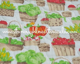 Pre-Quilted Veggies - Vintage Fabric Quilt Farm Farmers Garden Vegetables