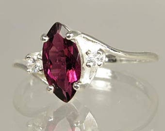 Natural Pink Tourmaline 1.02 carat with White Sapphires .10ctw Handset in Sterling Silver Ring  -  Fast Free Shipping with gift wrap