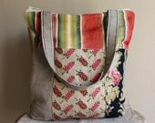 Market bag antique French fabric