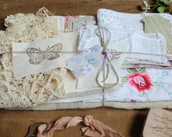 Fabric pack mixed fabrics trims A naturals lilacs and pink