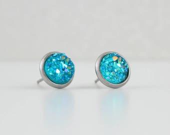 Cerulean Aqua Druzy Crystal Earrings | ATL-E-212