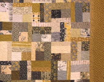 Patchwork Quilt - King size gold and gray Japanese Bits and Pieces